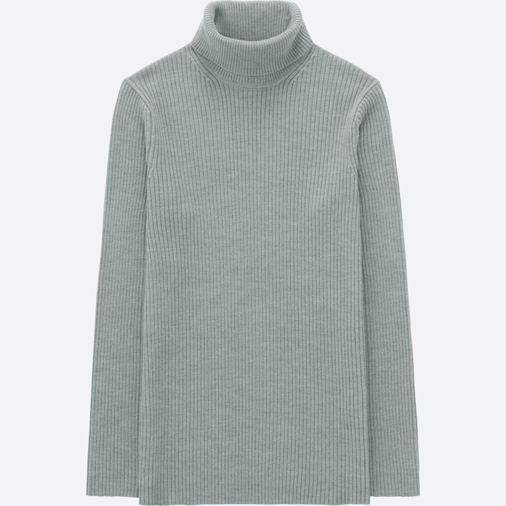MEN RIBBED TURTLENECK LONG-SLEEVE SWEATER (ONLINE EXCLUSIVE), GRAY, large
