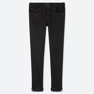 MEN STRETCH SELVEDGE SLIM-FIT JEANS, BLACK, medium