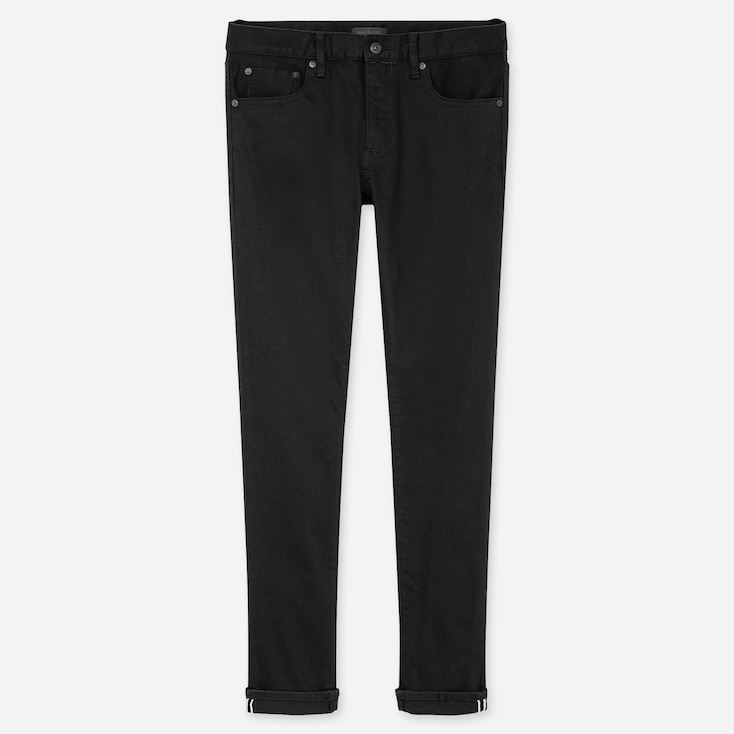 Men Stretch Selvedge Slim-Fit Jeans, Black, Large