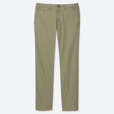MEN VINTAGE REGULAR-FIT CHINO FLAT-FRONT PANTS, OLIVE, medium