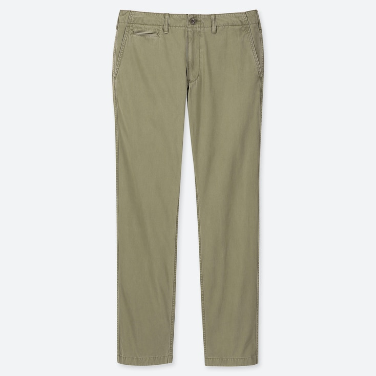 MEN VINTAGE REGULAR-FIT CHINO FLAT-FRONT PANTS, OLIVE, large