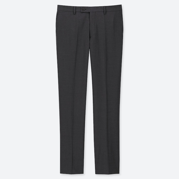 MEN STRETCH WOOL FLAT FRONT PANTS, DARK GRAY, large