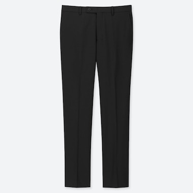 MEN STRETCH WOOL FLAT FRONT PANTS, BLACK, medium