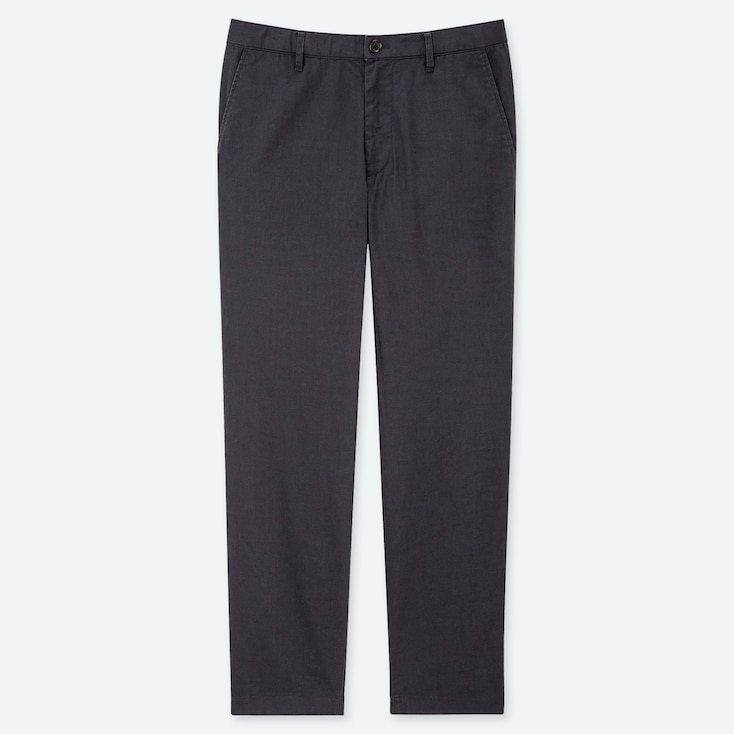 MEN COTTON LINEN RELAXED PANTS, DARK GRAY, large