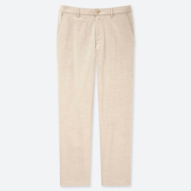 MEN COTTON LINEN RELAXED PANTS, BEIGE, medium