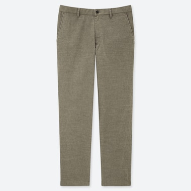MEN COTTON LINEN RELAXED PANTS, OLIVE, medium