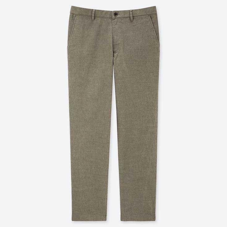 MEN COTTON LINEN RELAXED PANTS, OLIVE, large