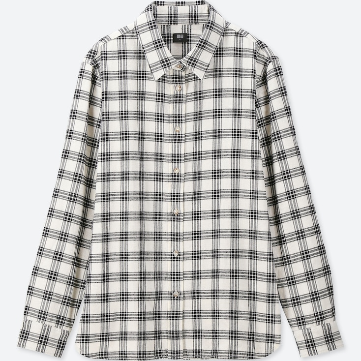 Women Flannel Checked Long-Sleeve Shirt, Off White, Large