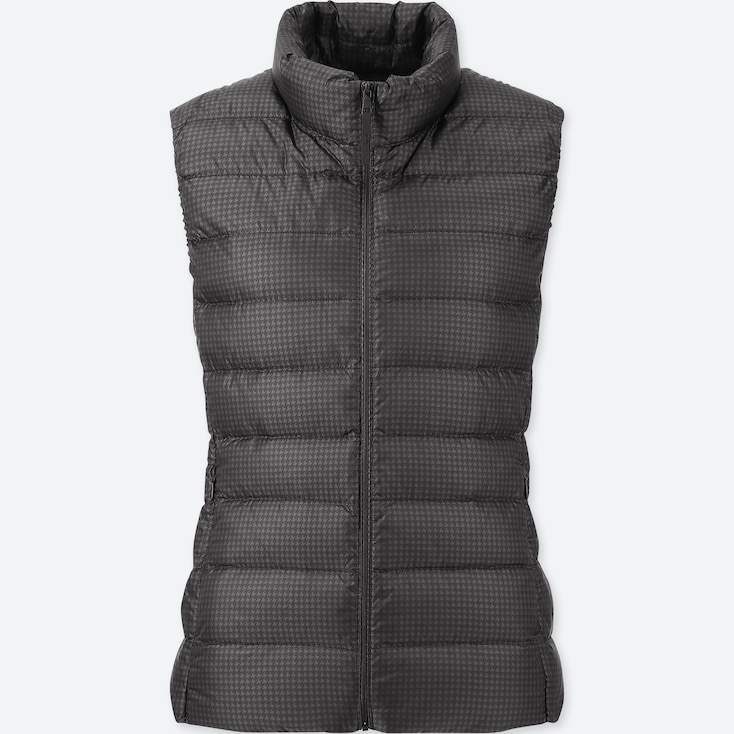 WOMEN ULTRA LIGHT DOWN PRINTED VEST, DARK GRAY, large