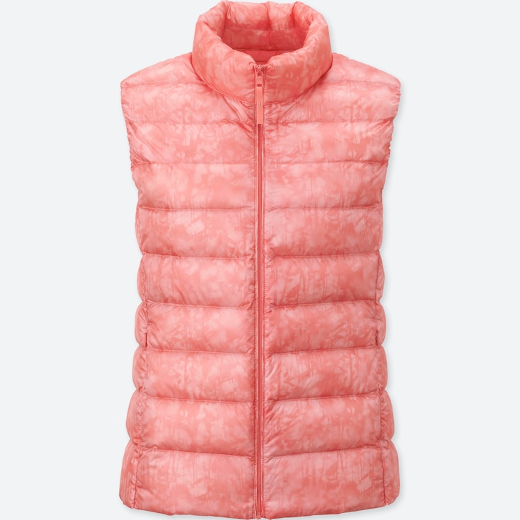 WOMEN ULTRA LIGHT DOWN PRINTED VEST, PINK, large