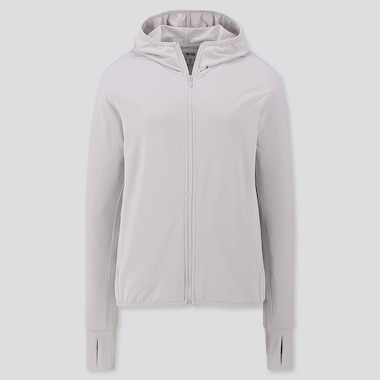 Women Airism Uv Protection Long-Sleeve Mesh Hoodie, Light Gray, Medium
