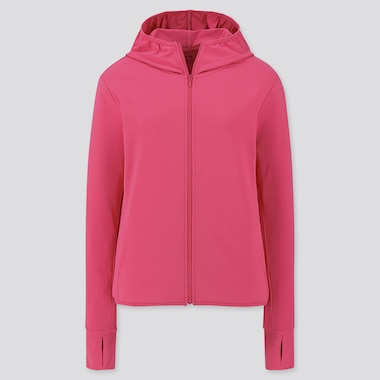 Women Airism Uv Protection Long-Sleeve Mesh Hoodie, Pink, Medium
