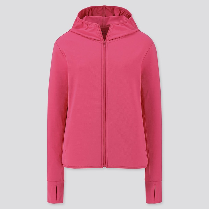 WOMEN AIRism UV CUT LONG-SLEEVE MESH HOODIE, PINK, large