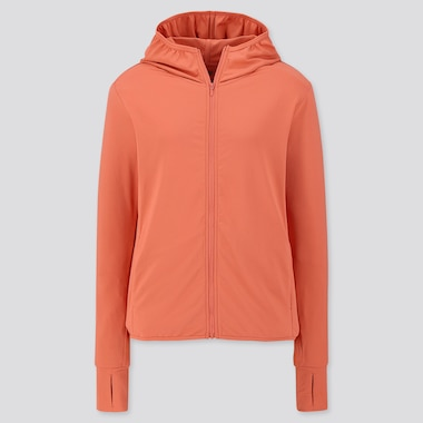 WOMEN AIRism UV CUT LONG-SLEEVE MESH HOODIE, ORANGE, medium
