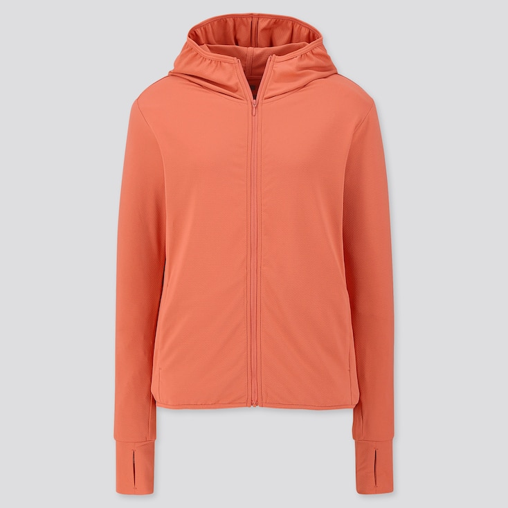 WOMEN AIRism UV CUT LONG-SLEEVE MESH HOODIE, ORANGE, large
