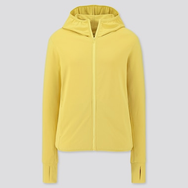 WOMEN AIRism UV CUT LONG-SLEEVE MESH HOODIE, YELLOW, medium