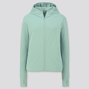 WOMEN AIRism UV CUT LONG-SLEEVE MESH HOODIE, GREEN, medium