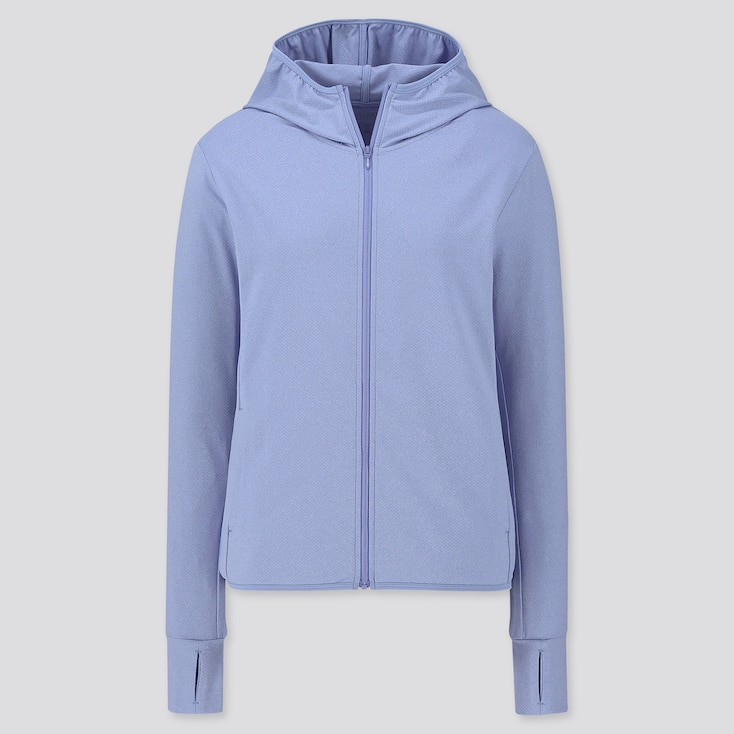 WOMEN AIRism UV CUT LONG-SLEEVE MESH HOODIE, BLUE, large