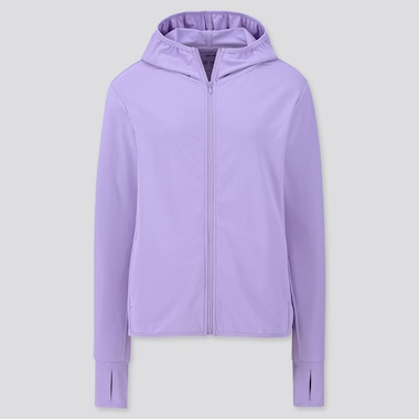 WOMEN AIRism UV CUT LONG-SLEEVE MESH HOODIE, PURPLE, medium