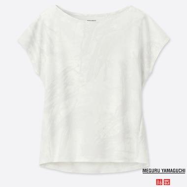 WOMEN DRY-EX MEGURU YAMAGUCHI PRINTED CREW NECK T-SHIRT, OFF WHITE, medium