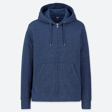 MEN SWEAT LONG-SLEEVE FULL-ZIP HOODIE, BLUE, medium