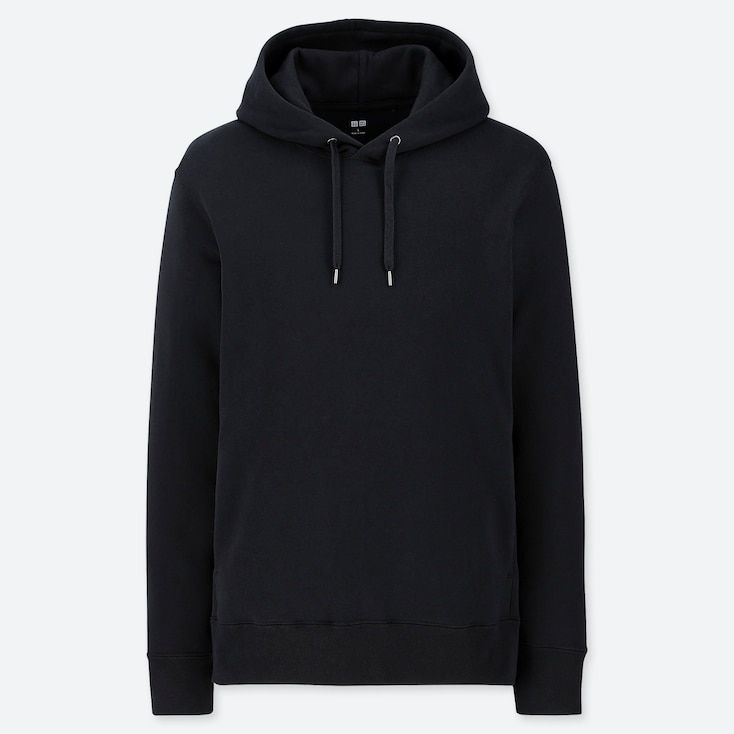 MEN LONG-SLEEVE HOODED SWEATSHIRT, BLACK, large