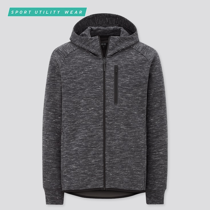 MEN DRY STRETCH SWEAT FULL-ZIP HOODIE, DARK GRAY, large