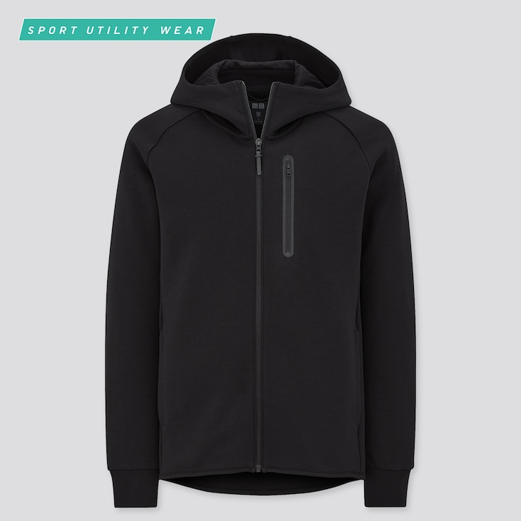 Men Dry Stretch Sweat Full-Zip Hoodie, Black, Large