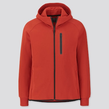 MEN DRY STRETCH SWEAT FULL-ZIP HOODIE, ORANGE, medium