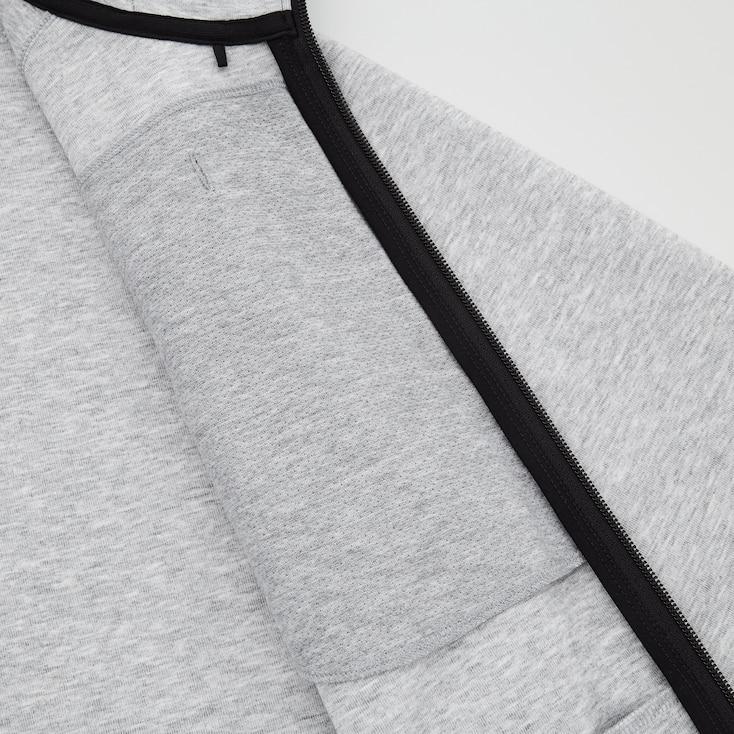 Men Dry Stretch Sweat Full-Zip Hoodie, Dark Gray, Large