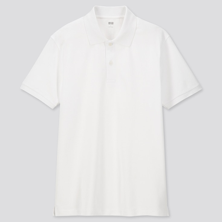 MEN DRY PIQUE SHORT-SLEEVE POLO SHIRT, WHITE, large