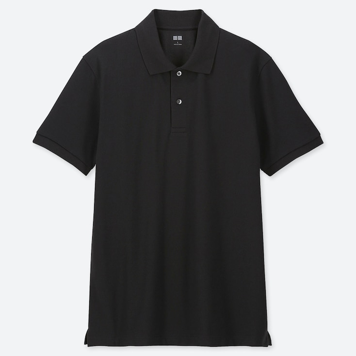 MEN DRY PIQUE SHORT-SLEEVE POLO SHIRT, BLACK, large