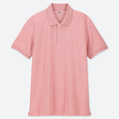 Men Dry Pique Short-Sleeve Polo Shirt, Pink, Medium