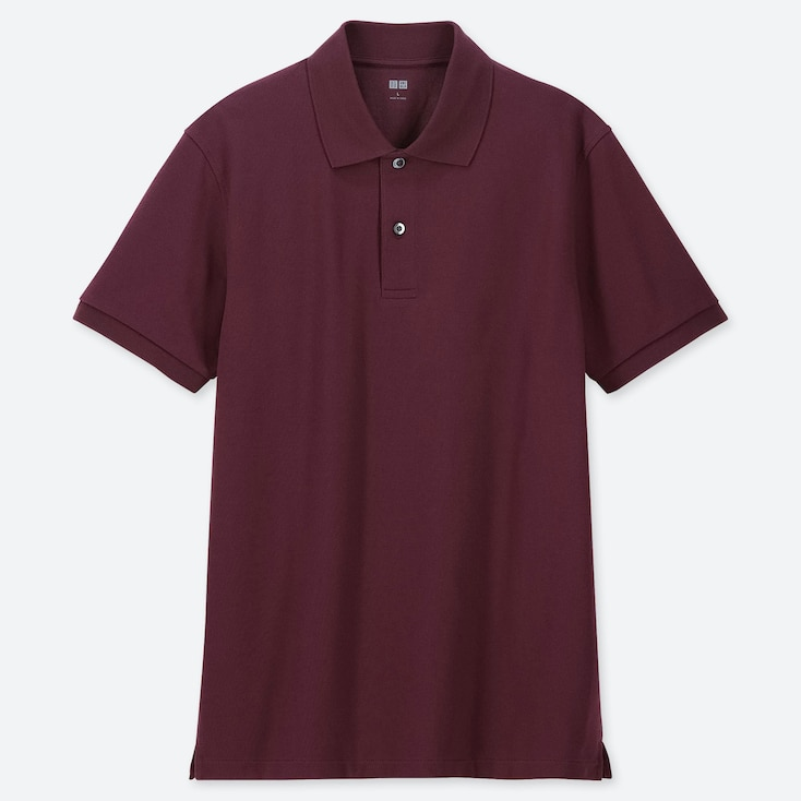 MEN DRY PIQUE SHORT-SLEEVE POLO SHIRT, WINE, large