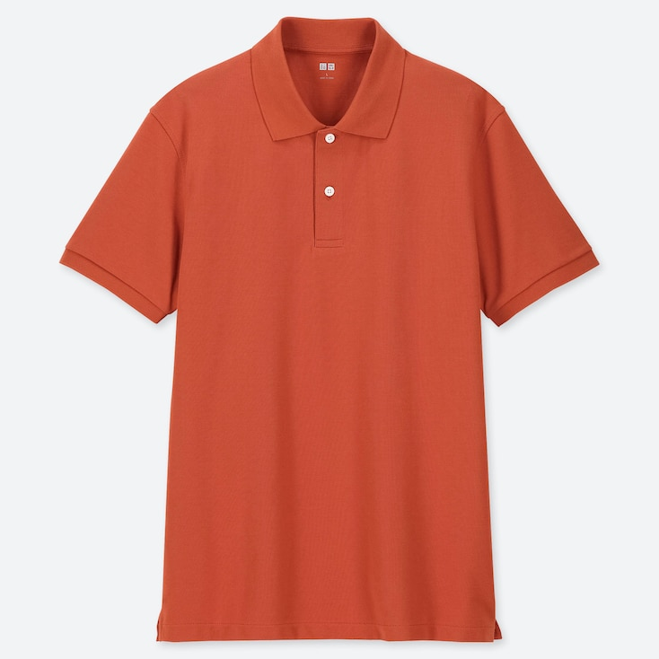 MEN DRY PIQUE SHORT-SLEEVE POLO SHIRT, ORANGE, large