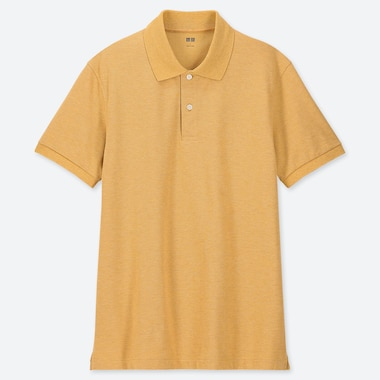 MEN DRY PIQUE SHORT-SLEEVE POLO SHIRT, YELLOW, medium