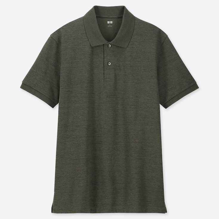 MEN DRY PIQUE SHORT-SLEEVE POLO SHIRT, DARK GREEN, large