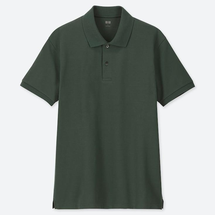 Men Dry Pique Short-Sleeve Polo Shirt, Dark Green, Large