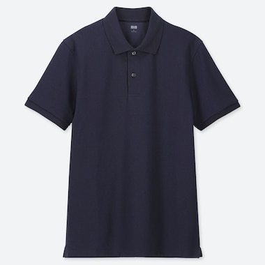 Men Dry Pique Short-Sleeve Polo Shirt, Navy, Medium