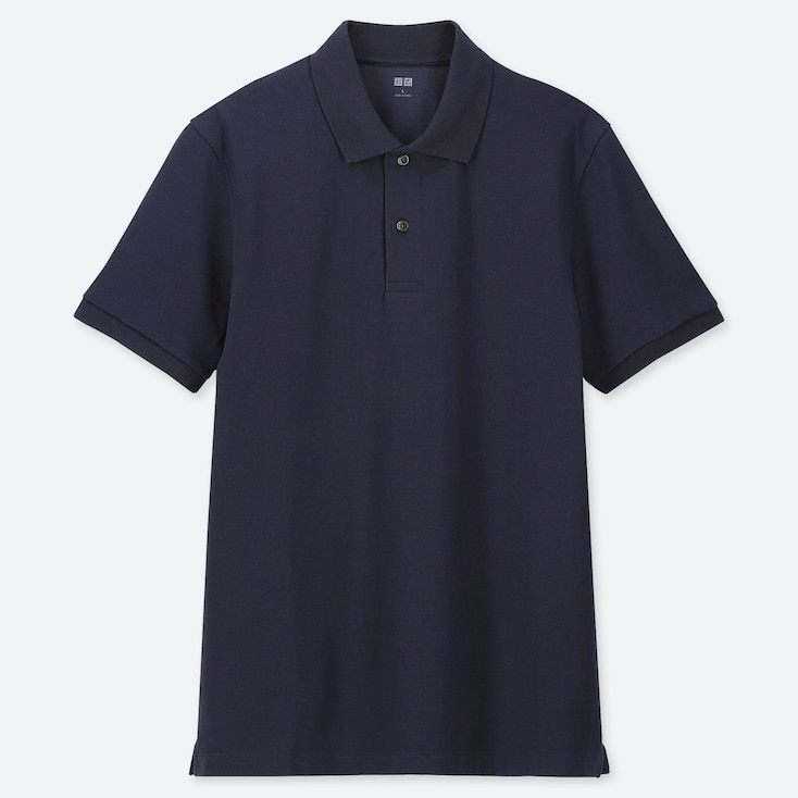 MEN DRY PIQUE SHORT-SLEEVE POLO SHIRT, NAVY, large