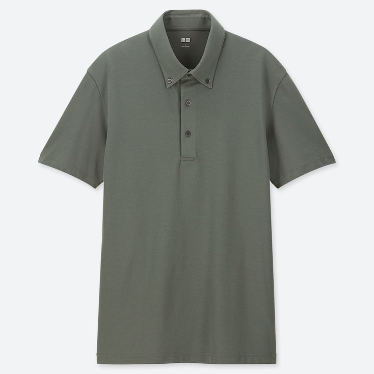 MEN AIRism SHORT-SLEEVE POLO SHIRT, GREEN, large