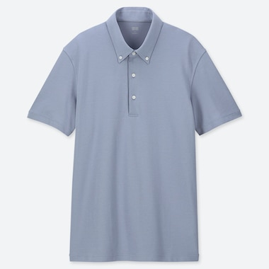 MEN AIRism SHORT-SLEEVE POLO SHIRT, BLUE, medium