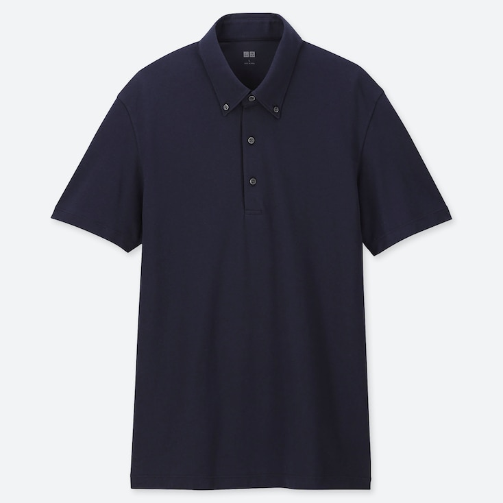 MEN AIRism SHORT-SLEEVE POLO SHIRT, NAVY, large