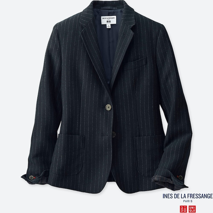 Women Soft Tweed Striped Jacket (Ines De La Fressange), Navy, Large