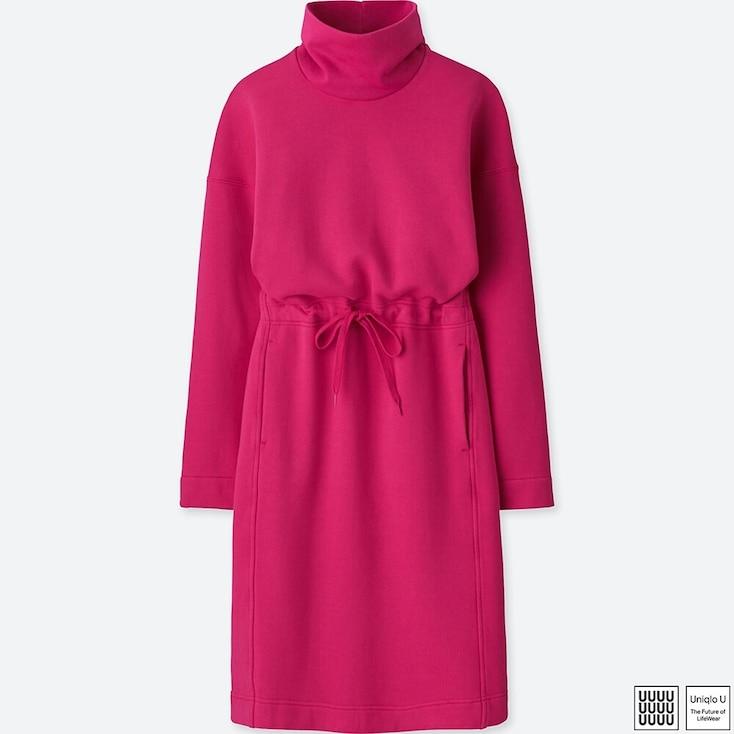 WOMEN U SWEAT TURTLENECK LONG-SLEEVE DRESS, PINK, large
