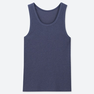 MEN PACKAGED DRY RIBBED TANK TOP, BLUE, medium