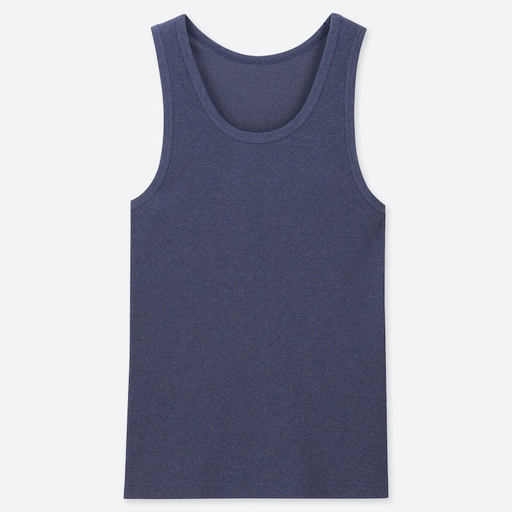 MEN PACKAGED DRY RIBBED TANK TOP, BLUE, large