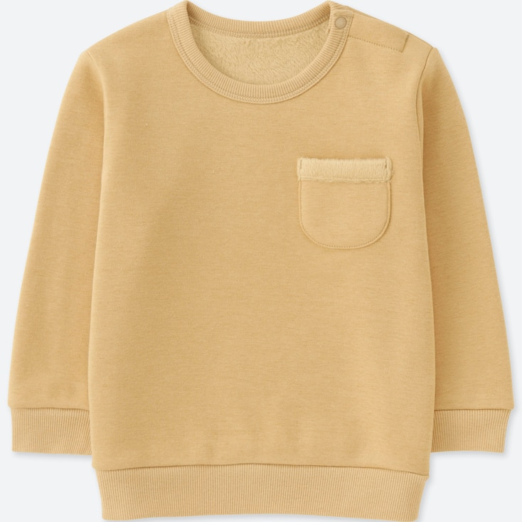 TODDLER LONG-SLEEVE PILE-LINED SWEATSHIRT, BEIGE, large