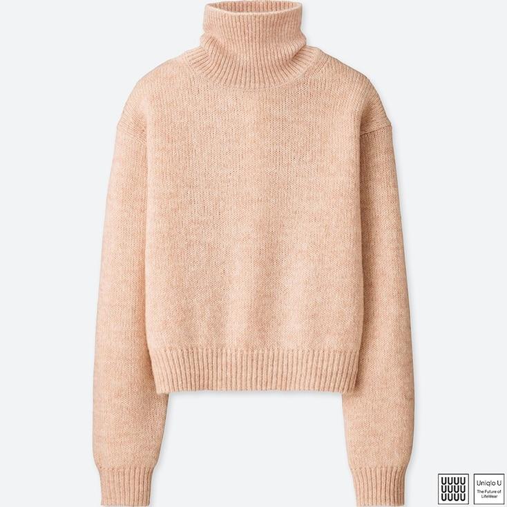 Women U Melange Turtleneck Sweater, Pink, Large