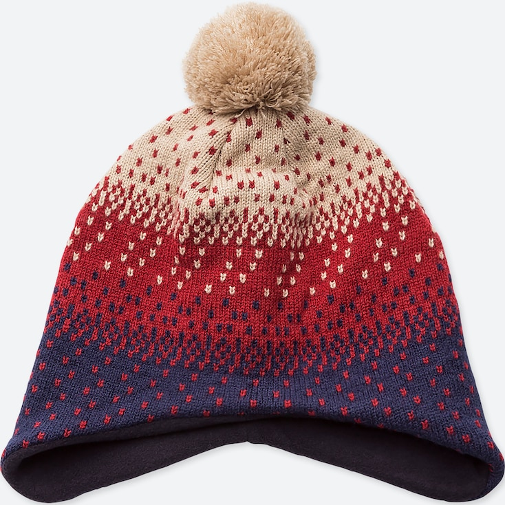 KIDS HEATTECH KNITTED CAP EAR COVER, RED, large